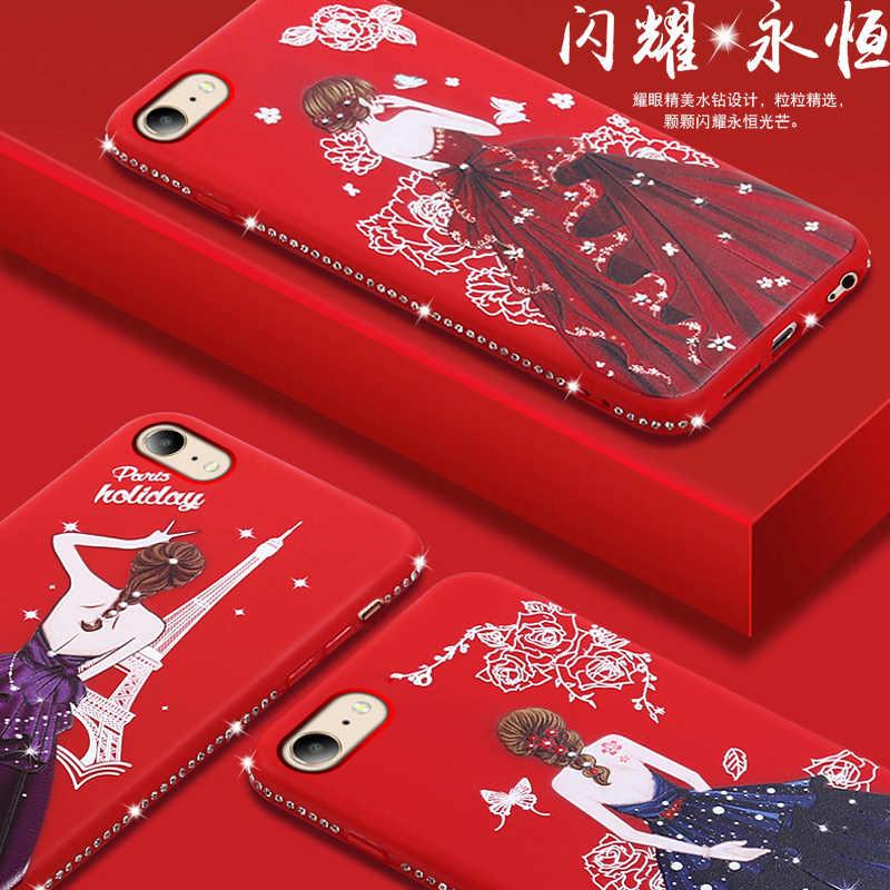 إلهة فتاة اللباس غطاء من السيليكون ل iphone 6s فوندا كوكه الماس حجر الراين غطاء من البولي يوريثان الحراري ل iphone 6s plus etui توك kryt