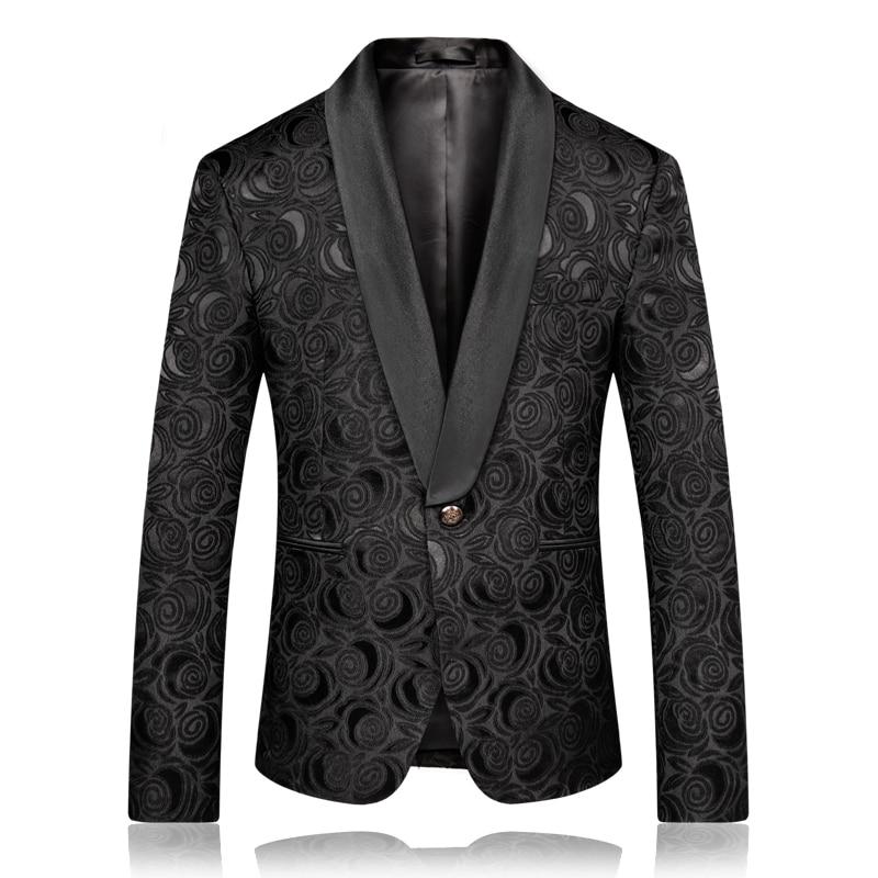 Loldeal degli uomini Floreale Del Vestito Da Partito del Vestito Dentellato Risvolto Alla Moda Giacca Giacca Sportiva di Nozze Prom Tuxedo