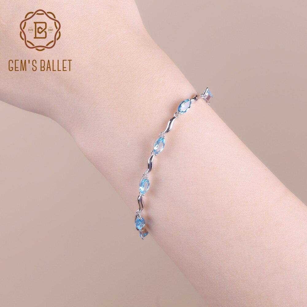 Pulsera de Topacio Azul suizo Natural de 925 pulseras de plata de ley para mujer-in Pulseras y brazaletes from Joyería y accesorios    1