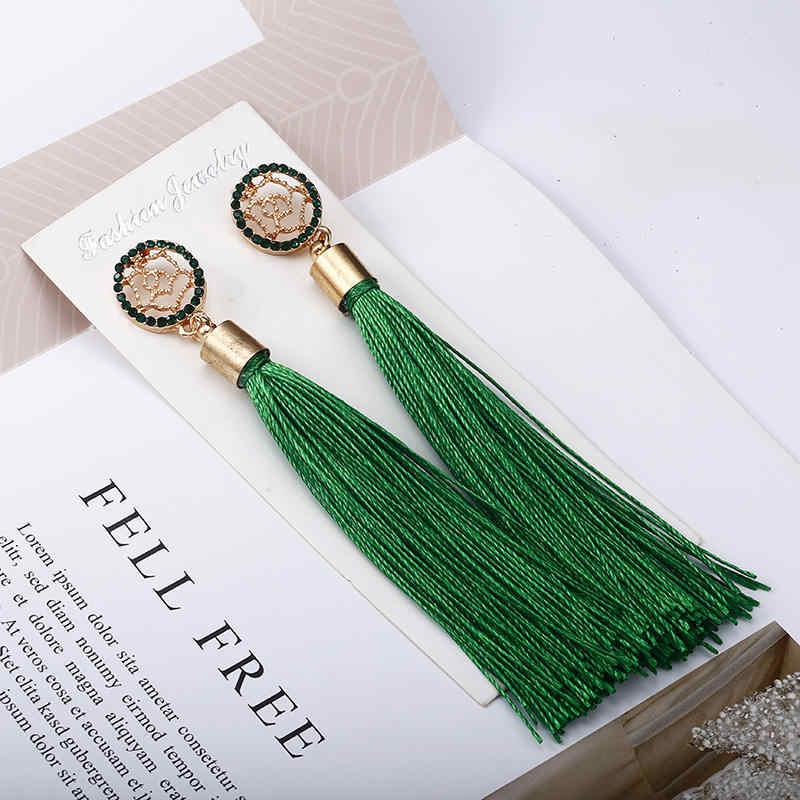 Bohemian Blue Color Silk  Fabric Crystal Tassel Earrings 2018 Hot Sell Women's Personalized Vintage Earrings Wholesale E0346