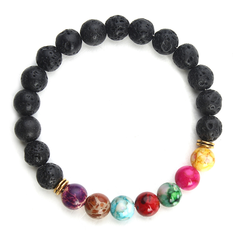 Retro Natural Negro Lava Stone Pulseras 7 Reiki Chakra Healing Balance Perlas Pulsera para Hombres Mujeres Estiramiento Joyería de Yoga