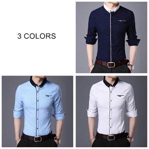 Image 4 - COODRONY marka koszula męska jesień nowy nabytek z długim rękawem bawełniana koszula mężczyźni Streetwear moda Dot mały kołnierzyk koszule na co dzień 96020