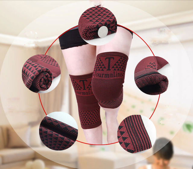 1 pair 2 pieces high elastic breathable bamboo charcoal knee support tourmaline magnetic knee brace pad patella 4