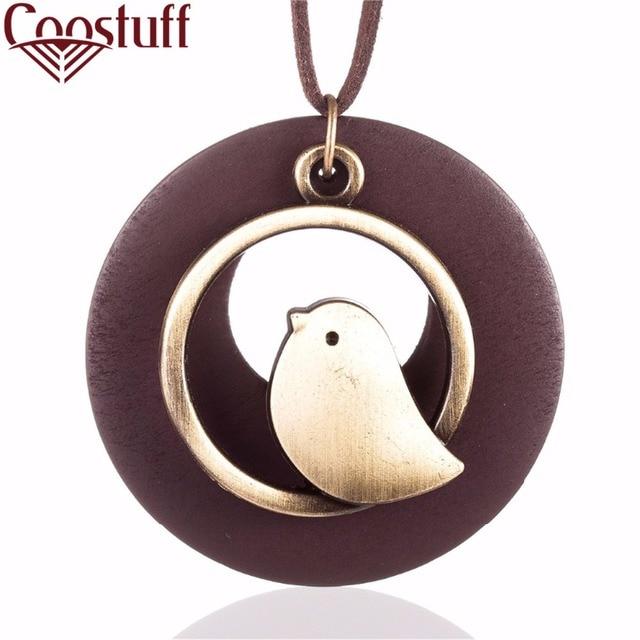 woman jewelry statement necklaces & pendants, Bird Wooden Bead pendant vintage L