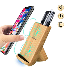 10W Qi Wireless Charger For iPhone X 10 8 Plus Fast Wireless Charger For Samsung S9 S8 S7 Note8 Charging Wood Pen Holder