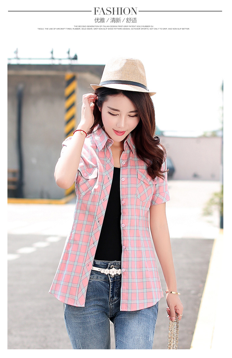 HTB1fDPSHFXXXXXyXXXXq6xXFXXX5 - New 2017 Summer Style Plaid Print Short Sleeve Shirts Women