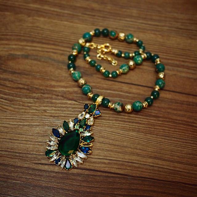 famous brand Women jewelry accessories girlfriend birthday gift Phoenix Stone green Baroque Austria crystal Statement necklace