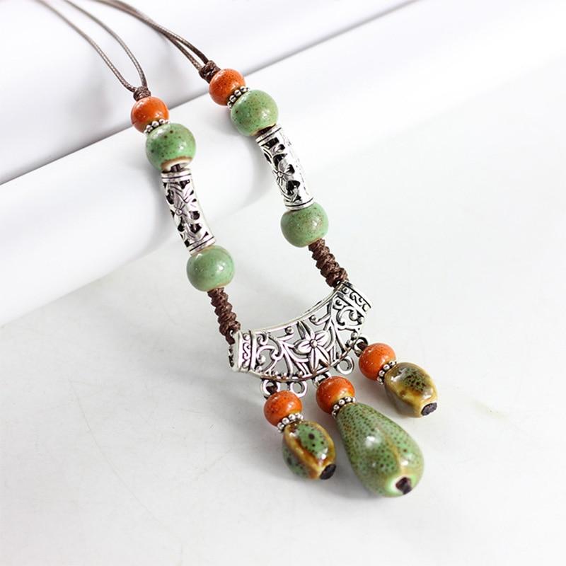 Collar perla oval vidrio color ámbar 34 x 12 mm en cadena de la bola ...