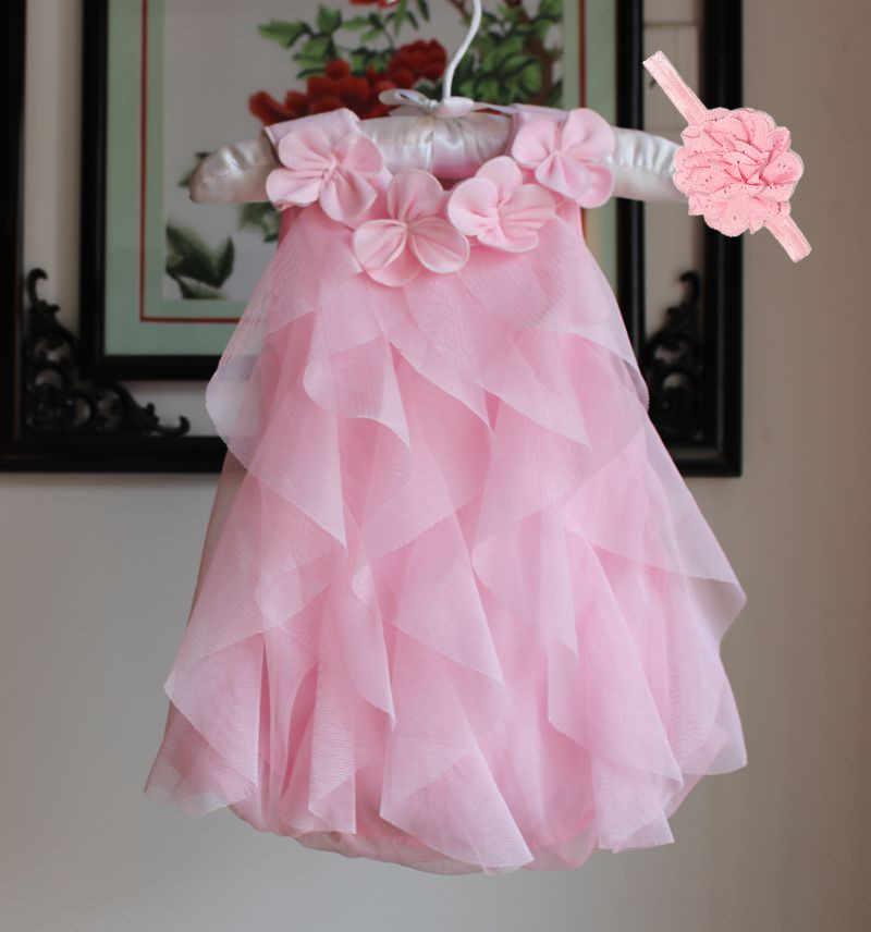 Baby Girls Dress 2020 Summer Chiffon Party Dress Infant 1 Year Birthday Dresses Girl Clothes & Headband Vestidos