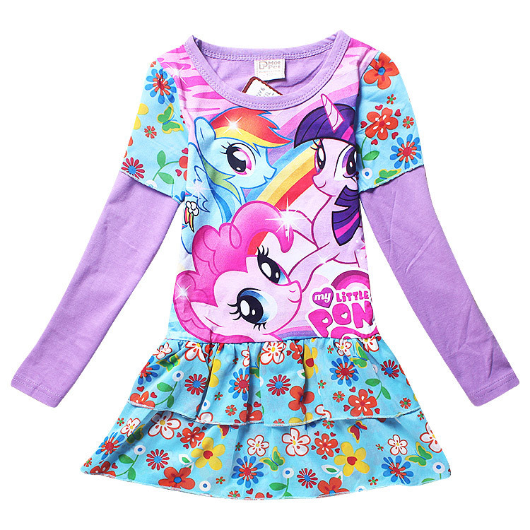 New My Baby Girl fashion cotton dress Children Clothing Girls little Pony Dresses Cartoon Princess Party Costume Kids Clothes nina ricci полосатая юбка