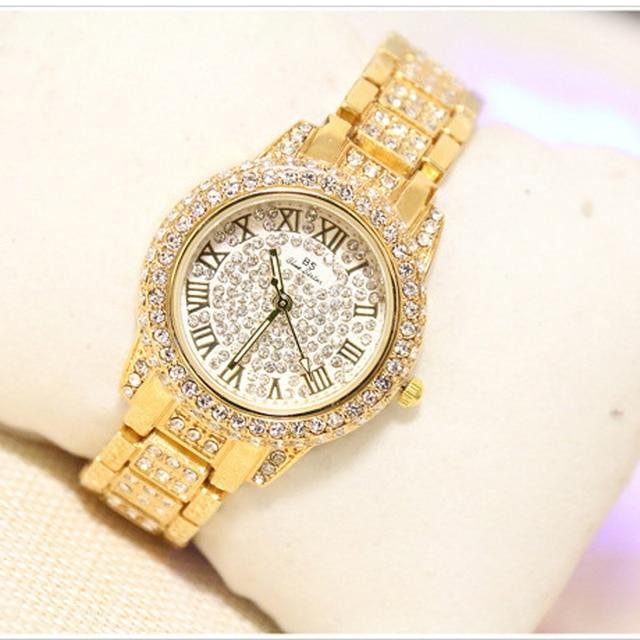 Luxury Brand Women Watches Fashion Original Brand BS Women Diamond Crystal Bracelet Watch Female Analog Watches Dress Watch