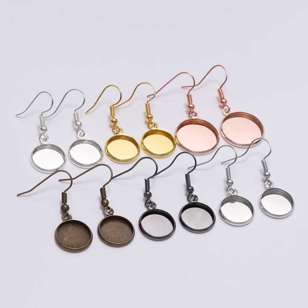 10pcs 12 16 18 20 25mm Gold Silver Cabochon Cameo Blank Base Settings Findings Ear Hook Earring For Jewelry Making Supplies DIY