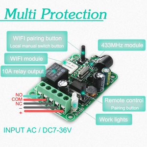 Image 4 - KTNNKG Wifi Remote Switch Wireless Remote Relay Receiver 1CH DC 12V 24V 36V 10A  433Mhz APP Voice Control For Electronic Lock