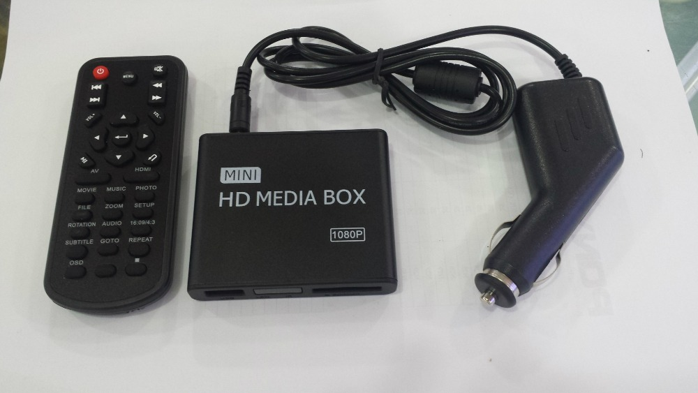 REDAMIGO Full HD 1080 p MINI Lecteur Multimédia pour voiture Center Multimédia Vidéo Lecteur Média box avec HDMI VGA AV USB SD/MMC HDDK7 + C