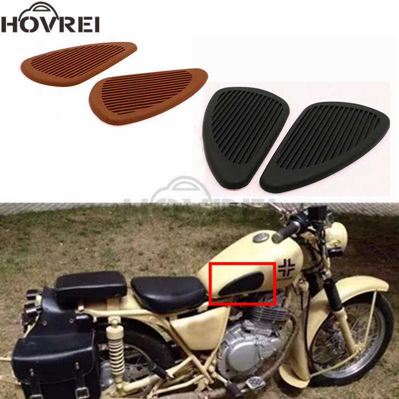 1 Paar Retro Motorcycle Cafe Racer Gas Brandstoftank Rubber Stickers Pad Protector Schede Knee Grip Protector Zwart Browm Kleur 100% Garantie