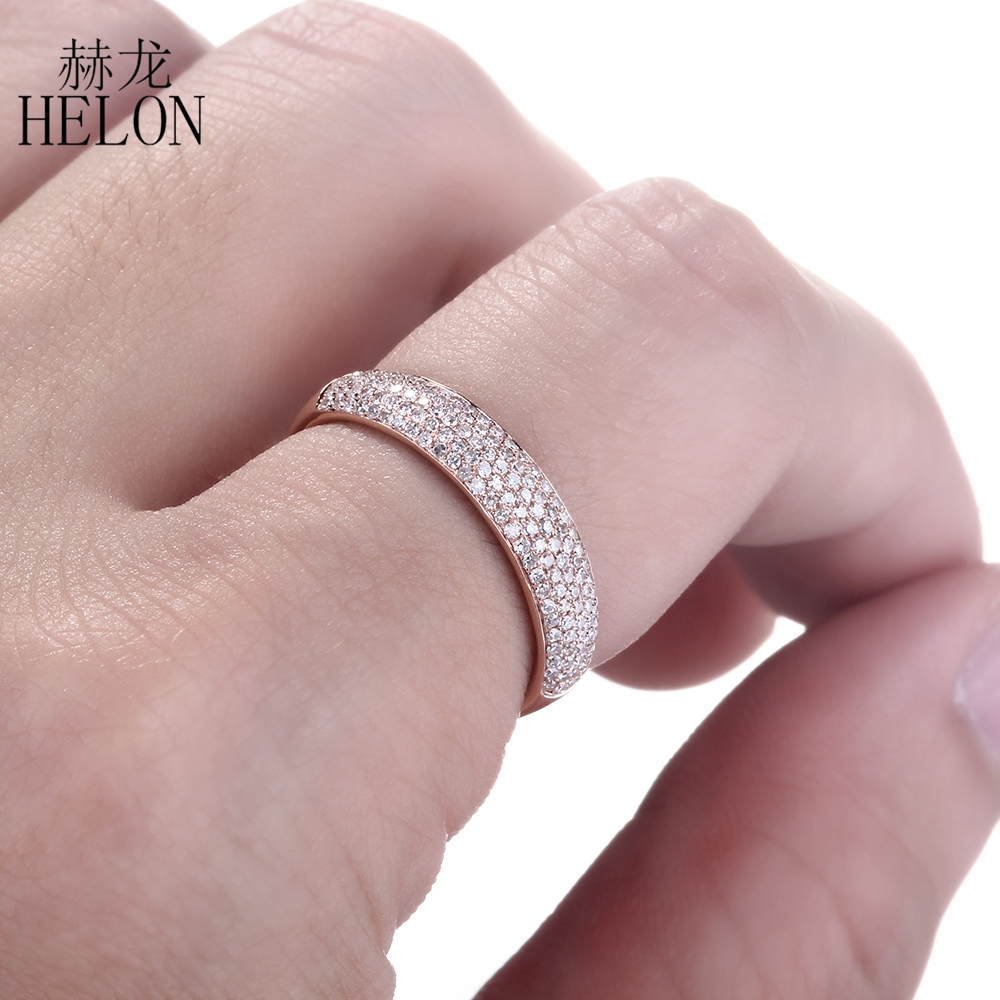 HELON Genuine Natural Diamond 0.39ct Engagement Wedding Fine Band Ring Elegant Solid 10K Rose Gold Half Eternity Jewelry Setting