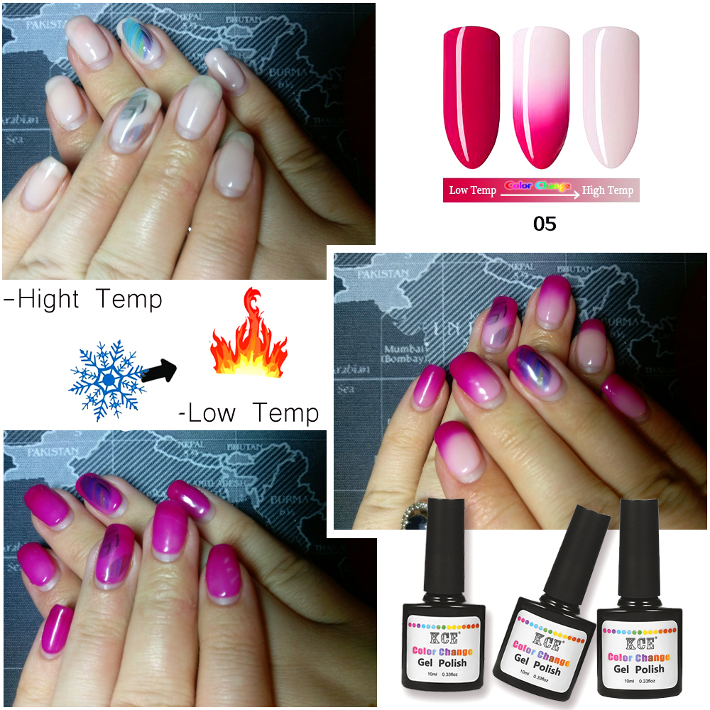 KCE 18 Colors Temperature Thermo Change Color UV Gel Polish DIY Nail ...