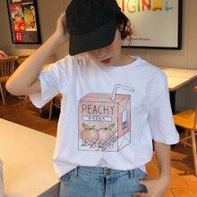 Peach Juice t shirt Japanses Kawaii T-Shirt Summer Grunge Girls 90s Aesthetic Tee Top Tumblr tshirt harajuku