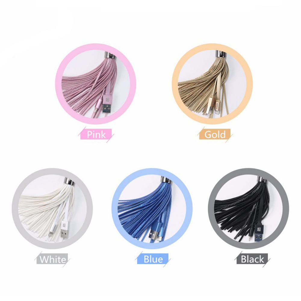 Remax USB Cable Leather Tassel 8pin USB Cable Metal Ring Key Chain Charge Data Cable Cord Charger Cable For iPhone 6 6S For iPad (8)