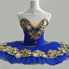 زي رقص باليه احترافي للأطفال البنات بألوان أحمر وأزرق ملكي ومزود بتنورة قصيرة للنساء