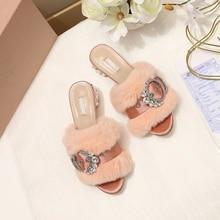 New Crystal Women Slippers Fashion Fur Buckle Decor Peep Toe Rhinestone  Chunky High Heels Pumps Runway 735db6715eab