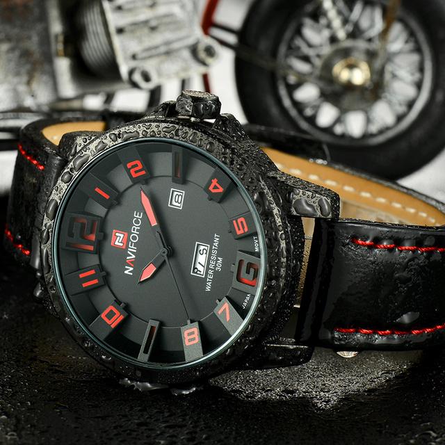 Reloj militar de lujo hecho de cuarzo analógico 3D y correa de cuero