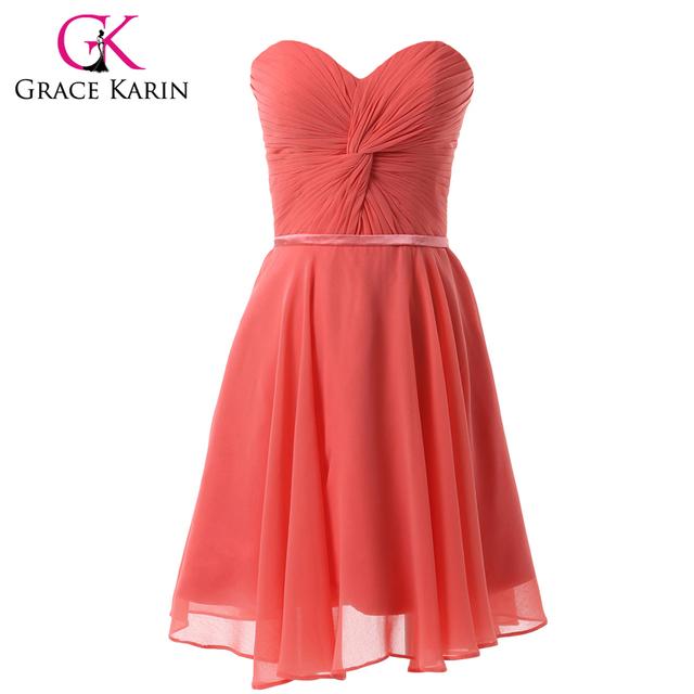 Grace karin graduação vestido curto chiffon vermelho melancia prom vestidos de festa para estudante querida especial ocasião vestidos 2017