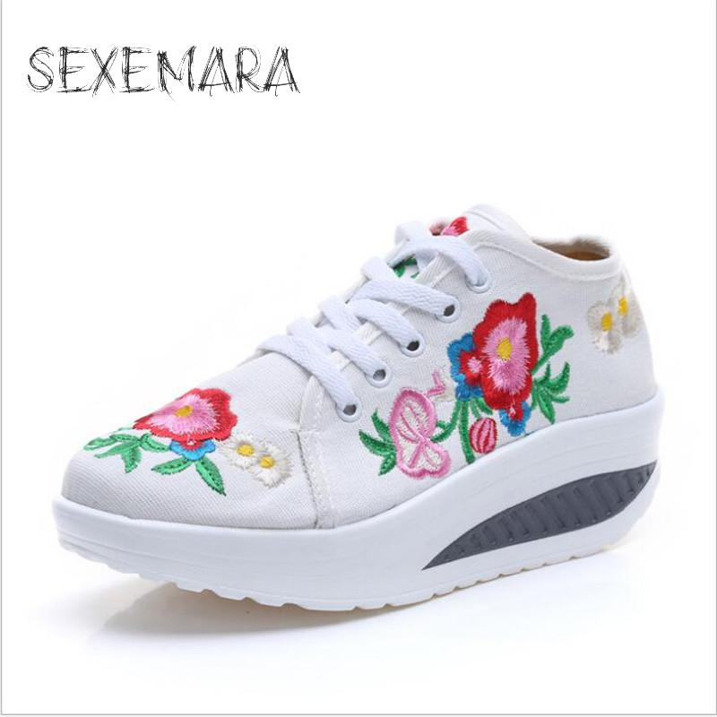 Spring Summer Women Embroidery Increased Elegant Ethnic Comfortable Fashion Breathable Walk Canvas Shoes New 2017