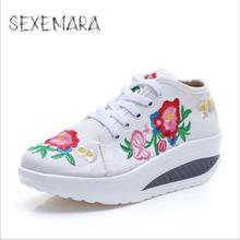Весна Лето Женщин Вышивка Вырос Элегантный Этническая Удобная Мода Дышащий Прогулки Холст Обувь Новый 2017