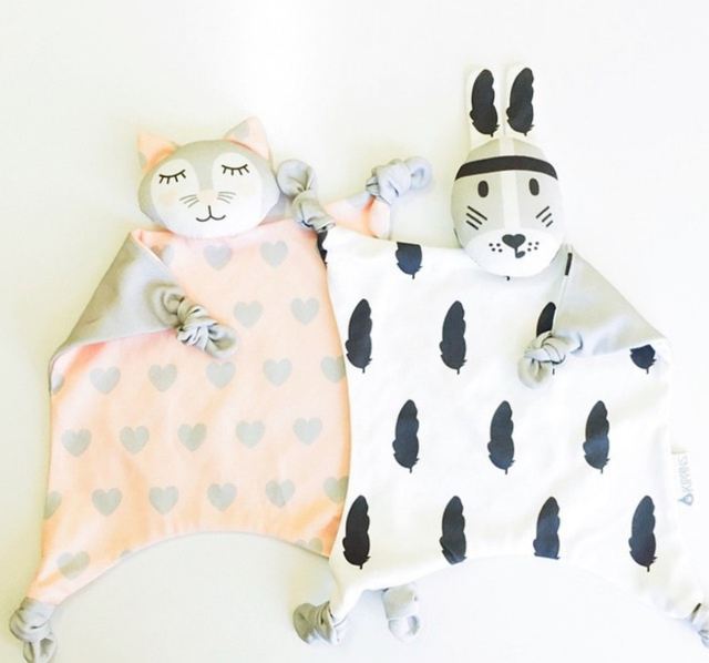 Soft Newborn Baby set Rabbit Cat Sleeping Dolls Bunny giraffe Play Security Kids Carriage Toy Towel Bib INS for Xmas gift
