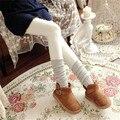 Japonés Cashmere Knit Mujeres Pantyhose del Resorte del Otoño Caliente del Invierno Delgado, Además de Terciopelo Grueso Medias de Algodón Solid Tamaño Libre