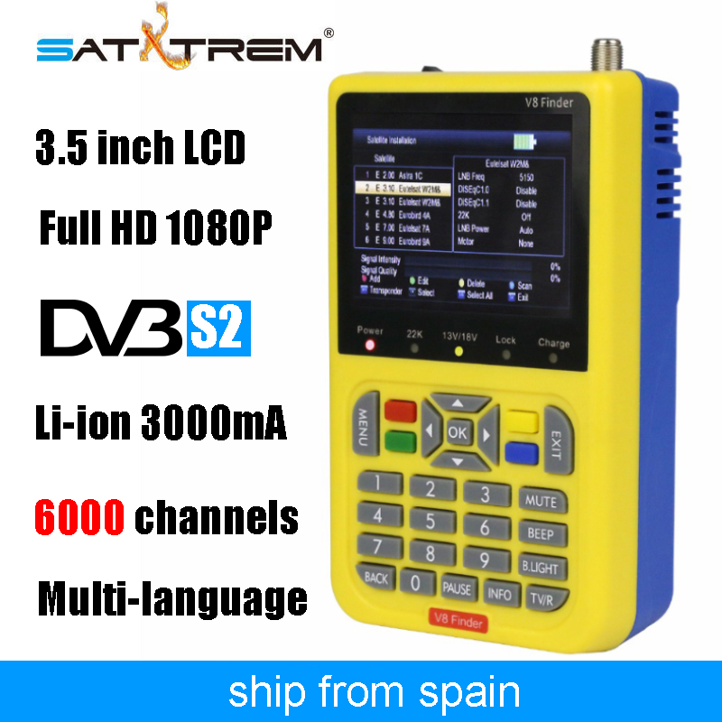 Satxtrem V8 Finder Full HD 1080P Digital Satellite TV Receiver DVB S2 SATV 3.5 inch LCD Display 3000mAh Sat Meter Finder Box