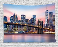 Tapestry Decor, Brooklyn Bridge and Lower Manhattan Skyline under Pink Sunrise Long Exposure Art Image,Wall Hanging Tapestry