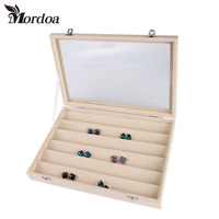 2016 Fashion Accessories Box Wedding Birthday Gifts Ear Stud Storage Velvet Jewelry Display Boxes Free Shipping