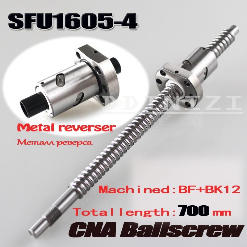 BallScrew 1605 SFU1605 L 700mm SFU1605 4 Rolled Ball screw with single Ballnut for CNC parts