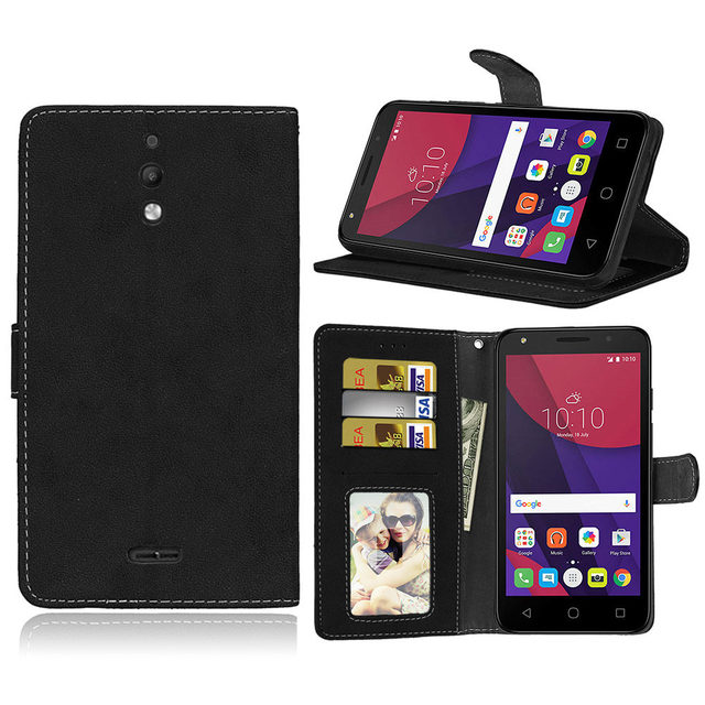 wholesale dealer a6f5f 9386a US $3.79 24% OFF|Retro For Alcatel One Touch Pixi 4 6.0 8050D Wallet  Leather Case Flip Back Cover For Alcatel Pixi 4 3G 6.0 6 inch Phone Bag-in  Wallet ...