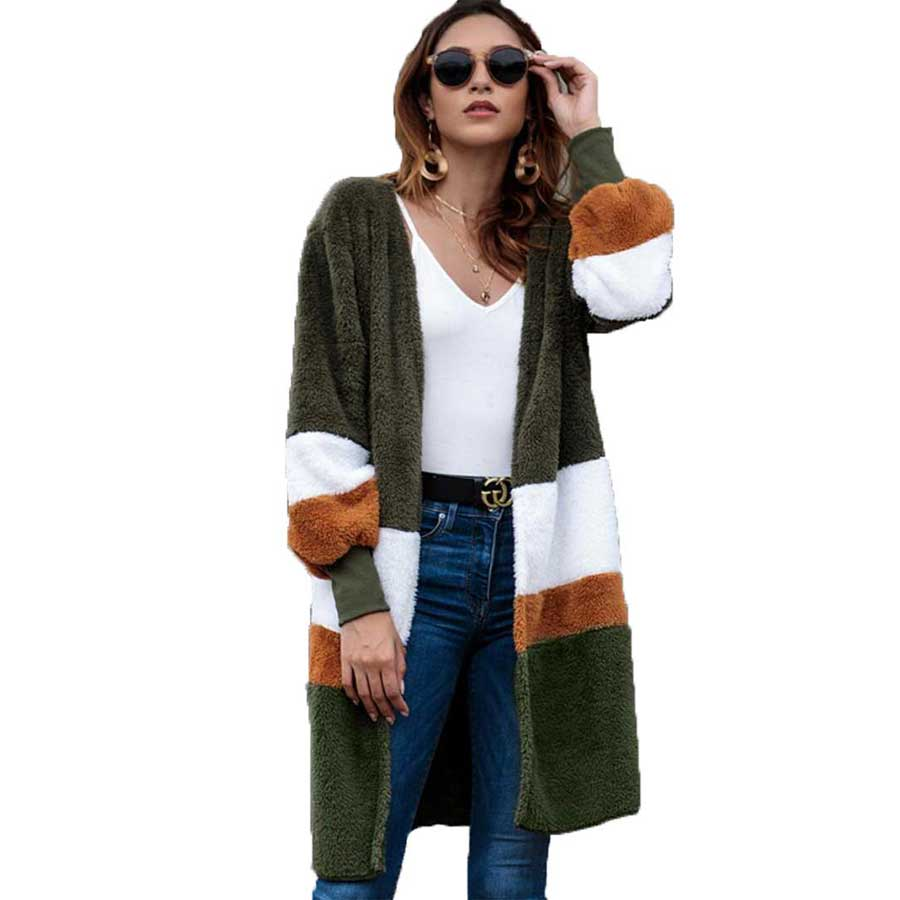 Fashion Ladies Women Long Coats 2018 Spring Autumn Clothing Women Outerwear No Collar Plush Open Stitch Women Clothes Winter