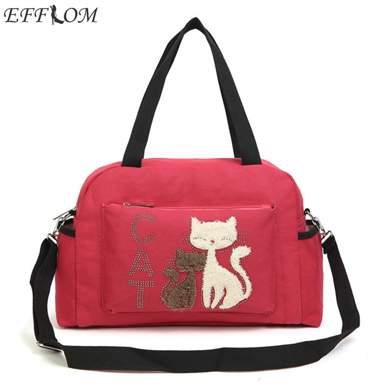Women Shoulder Bags Handbags Big Canvas Cloth Bag Cute Velvet Cat Fabric Travel Bag Large Capacity Women Canvas Shopping Bag japanese pouch small hand carry green canvas heat preservation lunch box bag for men and women shopping mama bag