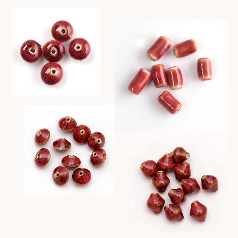 Nicebeads 6-20 ピース美しい 6-21 ミリメートル赤、ピンク、緑セラミックビーズジュエリーメイキングのためにビーズブレスレットミックス型マッチ色