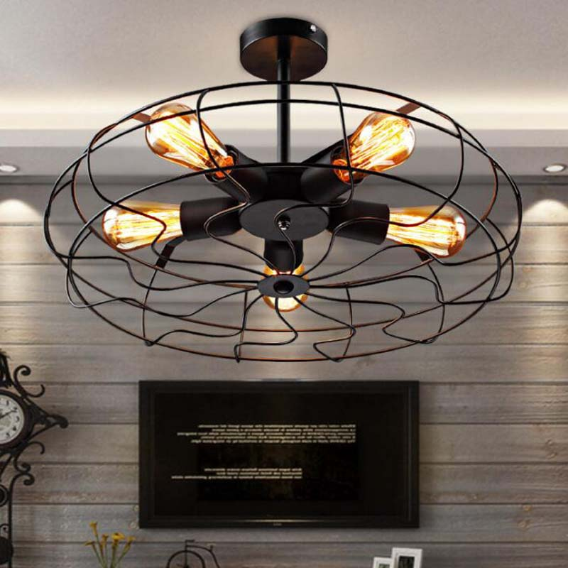Vintage Industrial Iron Chandelier Fan Loft Black Pendent Light Fixtures Edison Kitchen Living Dining Room Residential