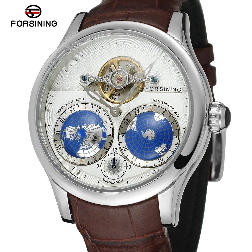 FORSINING hommes marque de luxe mouvement automatique boîte en acier inoxydable carte du monde cadran montre-bracelet Design de mode montre FSG9413M3 - 5