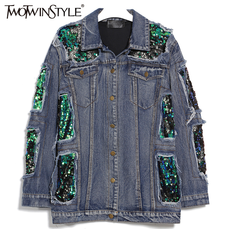 TWOTWINSTYLE 2017 Women Spring Sequins Denim Jacket Female Jeans Coat Windbreaker Ripped Long Sleeve Tops Casual Clothes Korean