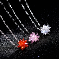 Romantic Fashion Ice Flower Silver Color Chain Necklaces Female Jewelry Snowflake Pendant Crystal Choker Necklace For