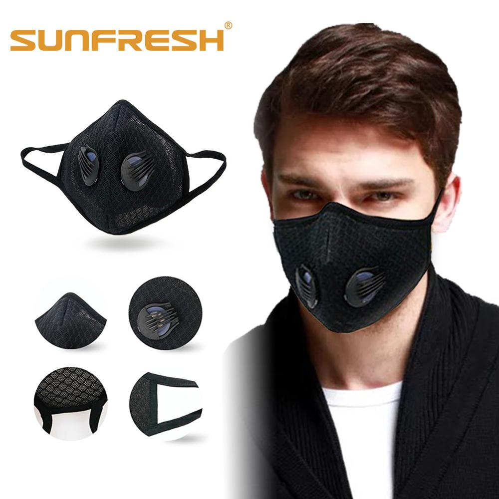 Fashion Sports Mask Anti-dust Cotton Running Masks Mouth Cover Double Valve PM2.5 Filter Anti-cold Adults  & Kids Multicolor