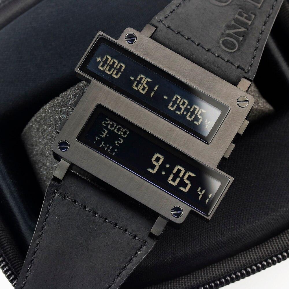 Lendemo ONE LIFE Series Top Man cible compte à rebours numérique heures horloge LED noir 316 T acier cuir de veau montre limitée Original - 4