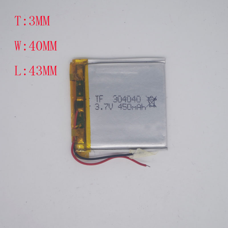 <font><b>3.7V</b></font> Polymer Battery 304040/304043 <font><b>450MAH</b></font> M6MP3MP4 Driving Recorder image