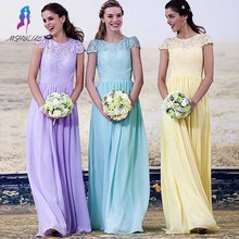 Top Selling A-Line Lace Bridesmaid Dresses Long Chiffon Cap Sleeve Wedding Party Dresses Customized