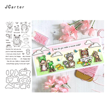 JC Metal Cutting Dies and Rubber Stamps Scrapbooking Craft Frog Kangaroo Owl Cut Stencil Card Making Album Sheet Decoration