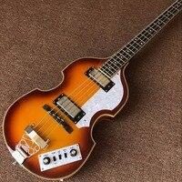 クロームハードウェア4弦bb2ベースギタースプルーストップヘフナー点火バイオリン低音ヴィンテージサンバーストリアルフォトショー