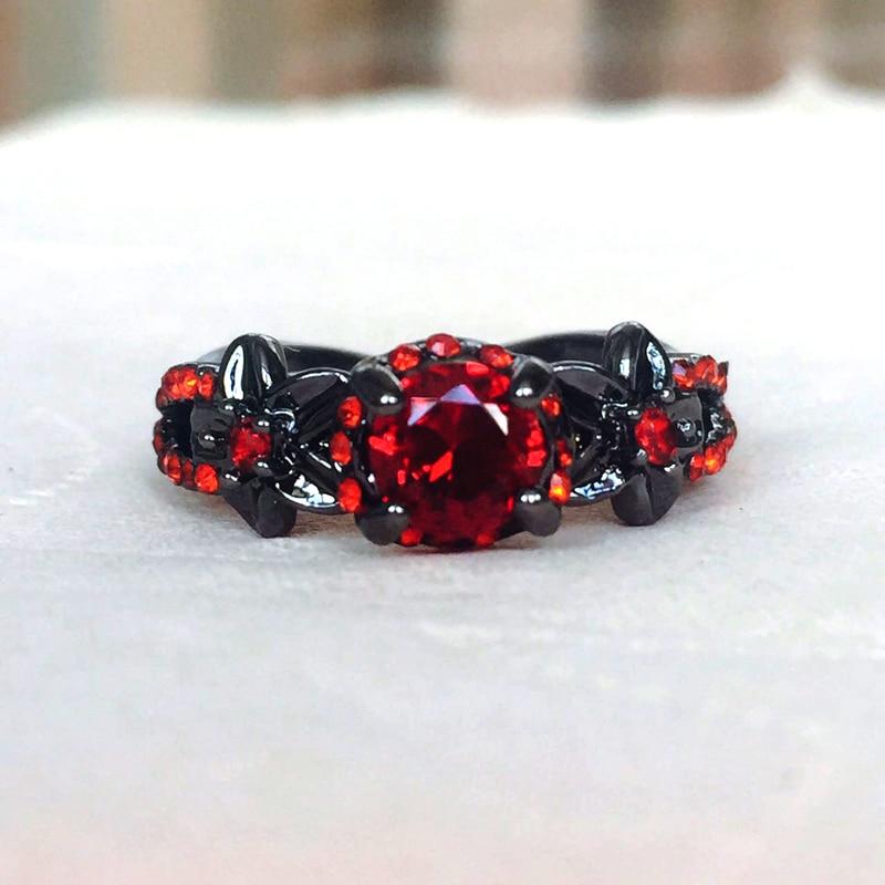 Rouge grenat fleur brillant noir or rempli anneaux pour les femmes charmant Bijoux de mariage promesse opale anneaux Bijoux Femme cadeaux de fête